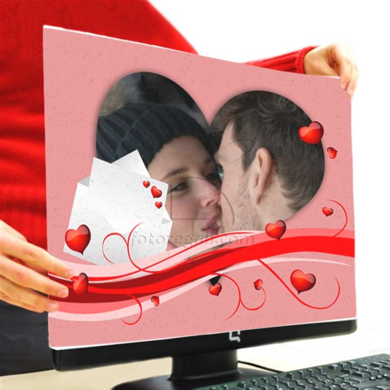 stampa a forma di cuore su copri monitor