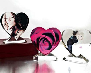 Cristallo a forma di cuore personalizzato con le tue immagini